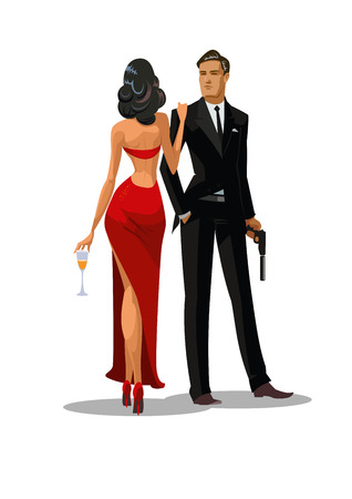 Secret Agent with gun and glass. Woman in red turned his back to us. Vector illustration Ilustração