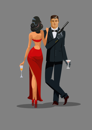 Secret Agent with gun and glass. Woman in red turned his back to us. Vector illustration Vettoriali