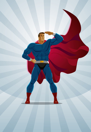 Superhero stands on the sunrise background. Vector illustration