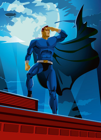 superhero on the roof looks into the distance. Vector Illustration