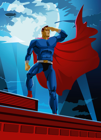 cartoon superhero: superhero on the roof looks into the distance. Vector Illustration