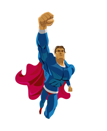 Superhero flying. Strives height. Isolated background. Vector illustration Çizim