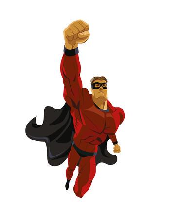 Superhero flying. Strives height. Isolated background. Vector illustration Illustration