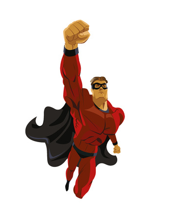flying: Superhero flying. Strives height. Isolated background. Vector illustration Illustration