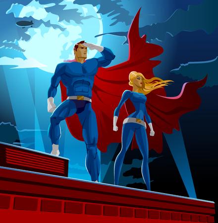 fortaleza: Pareja de superhéroes. superhéroes masculinos y femeninos. Cielo nublado. ilustración vectorial