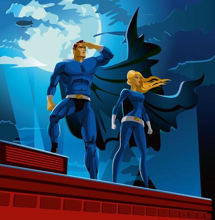 Superhero Couple. Mannelijke en vrouwelijke superhelden. Bewolkte lucht. vector illustratie Stock Illustratie