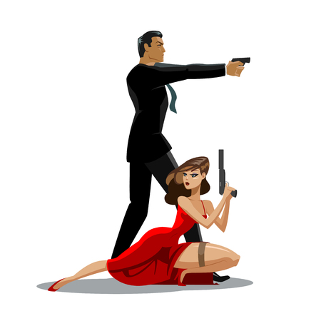 Team of secret agents. Posing on camera. Sexual woman in red dress. Illustration Illustration