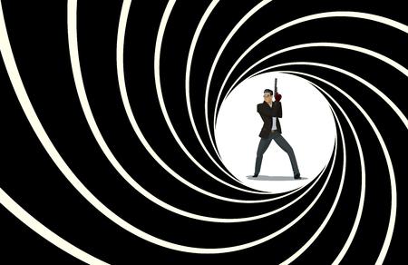 Secret agent. Posing on camera. Vector illustration