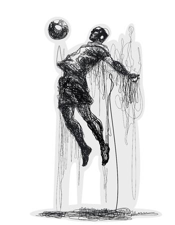 heading the ball: Soccer player kicks the ball. illustration. Original graphic. Lines Illustration