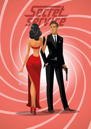 secret service: Team of super agents. Posing on camera. In gun barrel. Sexual woman in red dress. illustration Illustration