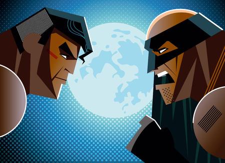 good and evil: Good versus evil. hero. illustration
