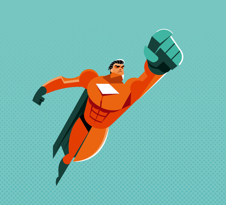 Flying hero. illustration