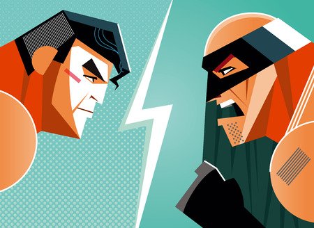 good and evil: Good versus evil. hero. illustration