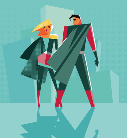 woman standing back: hero Couple: Male and female superheroes standing in backlight. illustration