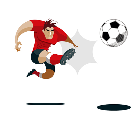 competitive sport: Soccer Player Kicking Ball Illustration