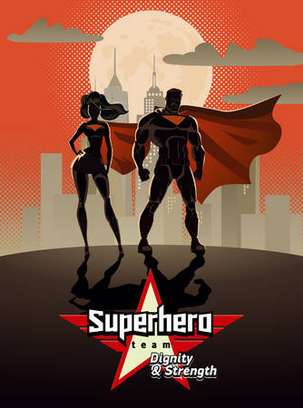 Poster. hero Couple: Male and female heroes, posing in front of a light. City background. Illustration