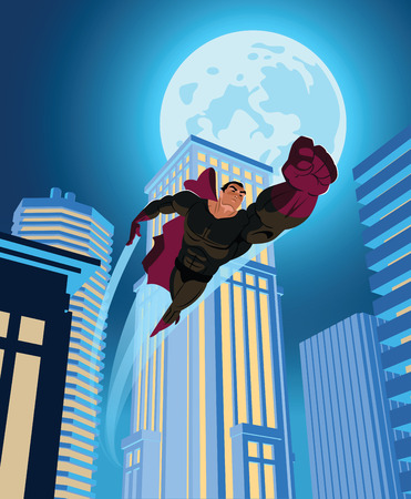 flying man: superhero flying through the night city. Vector illustration
