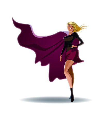 Beautiful superwoman in a pride pose suit. Vector illustration Illustration