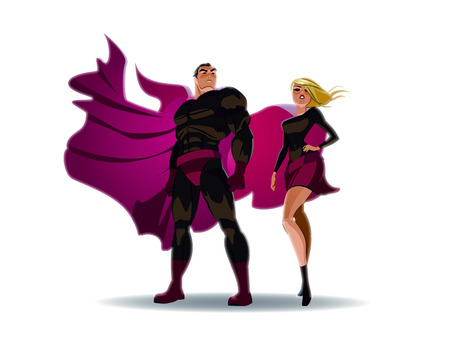 male female: Superhero Couple: Male and female superheroes, posing in front of a light. City background.