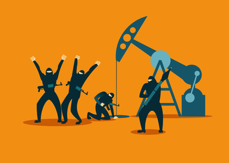 Terrorists hijacked an oil rig and steal oil. Vector illustration