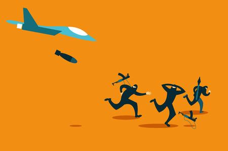 terrorists: Bomber strikes at terrorists. Vector illustration Illustration