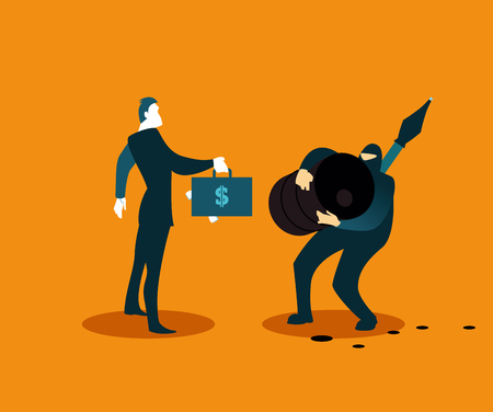 Terrorist selling stolen oil. Vector illustration Illustration