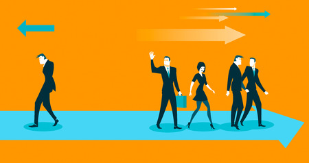 business confidence: all go in one direction, and only one against. Vector illustration