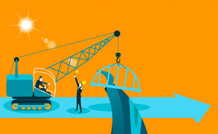 man made: builds a bridge crane. Vector illustration Illustration