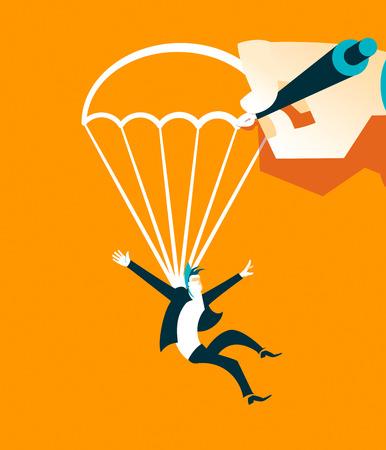 falling man: Hand draws a parachute falling man. Vector illustration