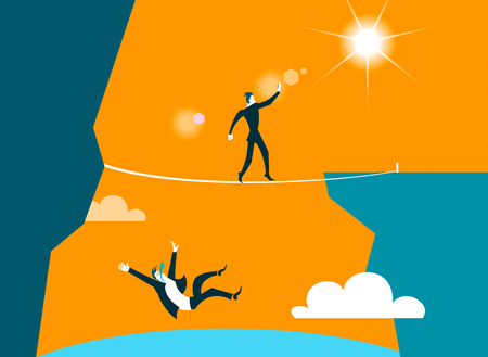conquering adversity: Goes dangerous abyss. Vector illustration