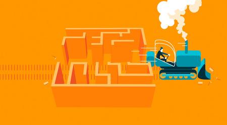 conquering: bulldoozer throughout labyrinth. vector illustration Illustration