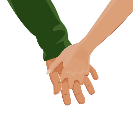 gently: Mens hand gently takes the womans hand. Love. Vector illustration Illustration