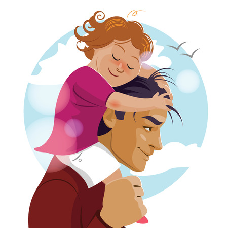assist: I love you, Daddy. Father Day. Pope carries his daughter on his shoulders. Vector illustration