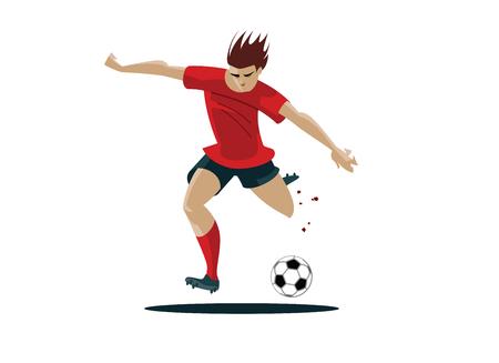 kicking: Soccer Player Kicking Ball Vector Illustration