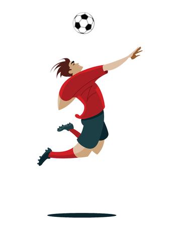 kicking ball: Soccer Player Kicking Ball Vector Illustration