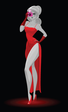 lady in red: Super agent. Secret agent. Elegant woman spy in the evening red dress photographed. Vector illustration