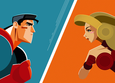 Man versus woman. Superhero. Vector illustration