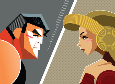 woman male: Man versus woman. Superhero. Vector illustration