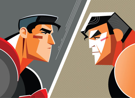 Good versus evil. Superhero. Vector illustration Illustration