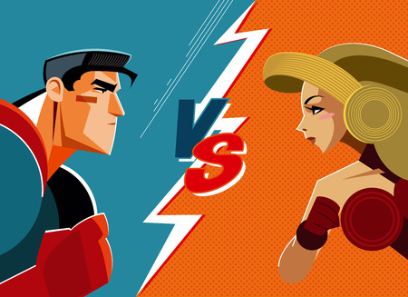 Man versus woman. Superhero. Vector illustration