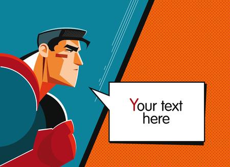 Superhero. Speech bubble. Pop-art comic background Vectores