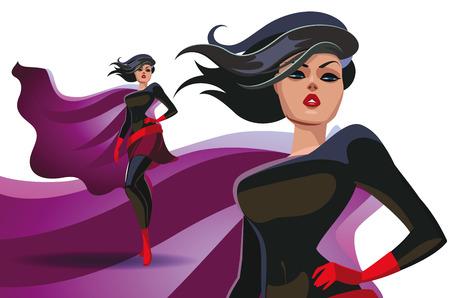 Mooie superheroine in een trots poseren pak. vector illustratie