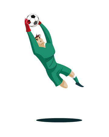 Goalkeeper catches the ball and protect. Vector illustration