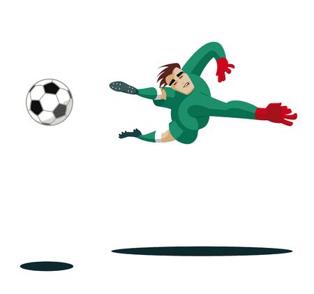El portero coge el balón y proteger. ilustración vectorial