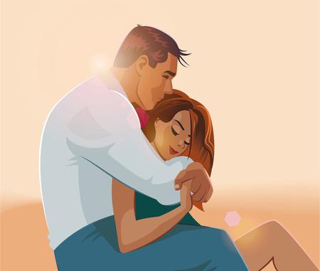 other keywords: Embraces of a loving couple. Vector illustration Illustration