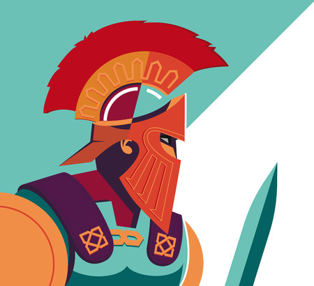 strong men: Greek Spartan Warrior or Trojan Soldier holding shield and sword - Vector Illustration Illustration
