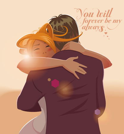 young woman: Embraces of a loving couple. Vector illustration Illustration