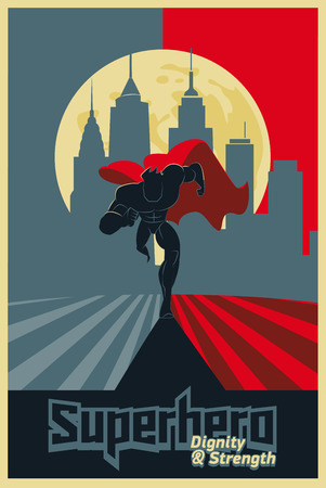 Superhero running in front of a urban background. Poster red & blue. Vector illustration.