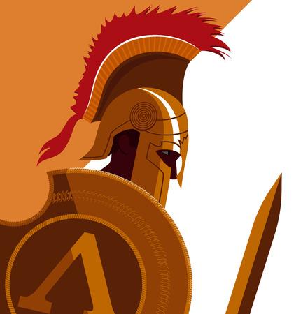 trojan: Greek Spartan Warrior or Trojan Soldier holding shield and sword - Vector Illustration Illustration