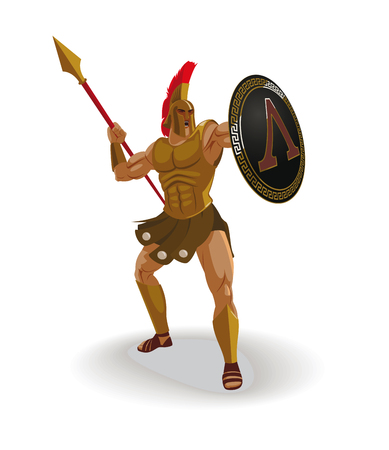 Angry spartan warrior with armor and hoplite shield shouted and throwing a spear Illustration